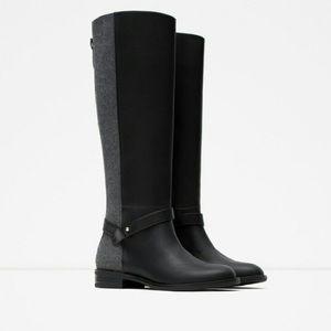 Zara Combined Flannel Felt Knee High Boots